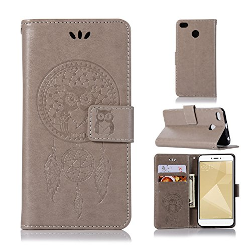 BCIT Xiaomi Redmi 4X Funda - [Patrón de búho] Carcasa Libro de Cuero Con Tapa y Cartera, Carcasa PU Leather Con TPU Silicona Case Interna Suave para Xiaomi Redmi 4X - Gris
