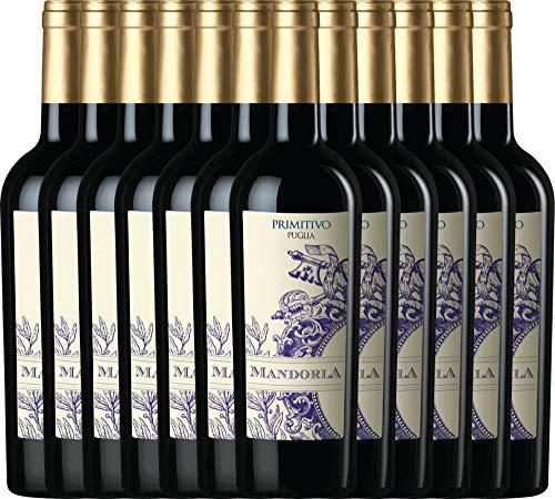 VINELLO 12er Weinpaket Primitivo - Primitivo Puglia IGT 2019 - Mandorla mit Weinausgießer   trockener Rotwein   italienischer Wein aus Apulien   12 x 0,75 Liter