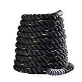 INZENYN Heavy Jump Rope Skipping Rope Workout Battle Ropes Total Body Workouts Power Improve Strength Building Muscle for Mens/Womens (Black, 1 Inch(2.5cm), 9.2 Feet(2.8m))