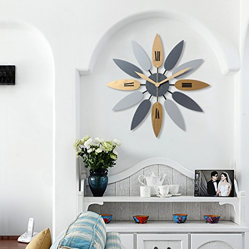 Haoun Large Decorative Wall Clock, Leave Shape Clock Silent Wall Clock Non Ticking for Kitchen Decor