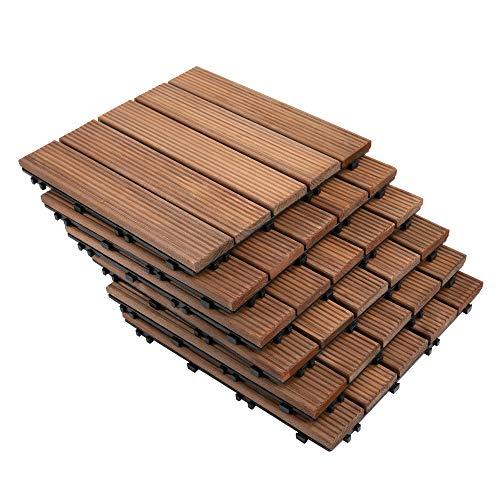 Outsunny Set de 27 Baldosas de Madera 30x30 cm con Área de 2,5 m² Losetas Sistema de Clic para Balcón Terraza Jardín Marrón
