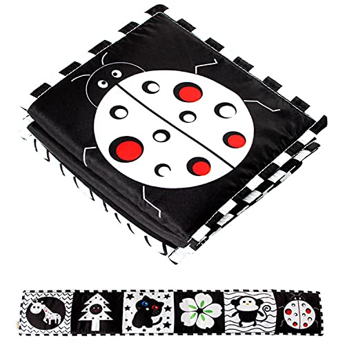 Duyifan Crib Bumper Pads - Black and White Sensory Toys for Newborn Babies, Books for Babies, Tummy Time Toys, Made of Soft Fabrics (Ladybug)