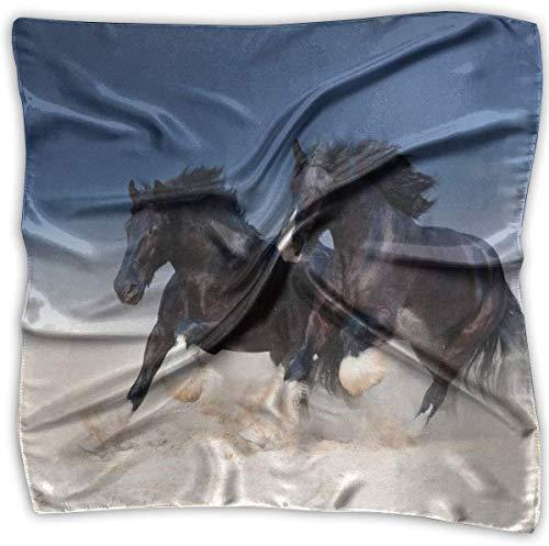 Par de ovejas de caballos galopando a lo largo del pañuelo de arena poliéster bolsillo cuadrado mulipurpose seda bandanas delicada impresión