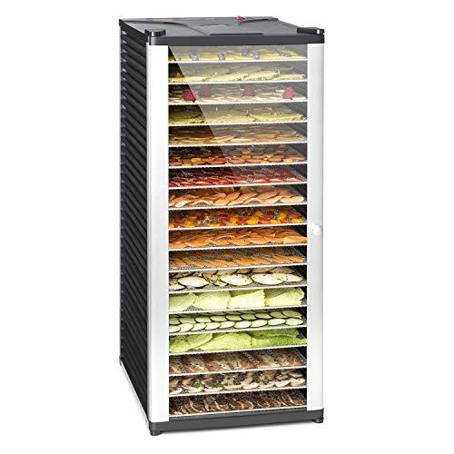 Klarstein Fruit Jerky 18 - Dörrgerät, Obst-/Fleisch- und Früchte-Trockner mit 2,3 m² Trockenfläche und 18 Etagen, 1000 Watt Leistung, stufenlos bis 70 °C einstellbar, Timer, stabiles Gehäuse, schwarz