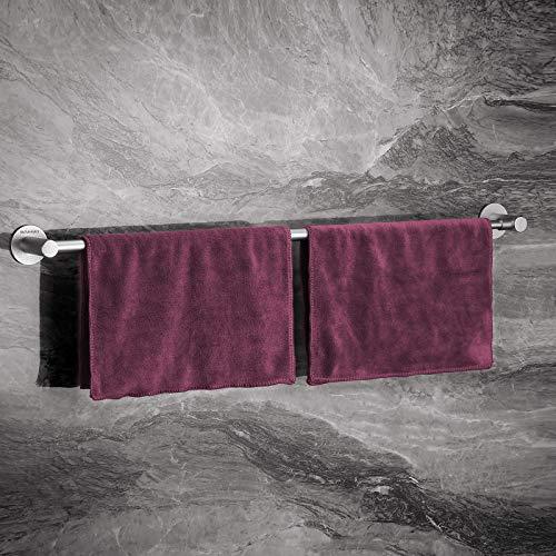 Wangel Verstellbarer Handtuchstange Handtuchhalter ohne Bohren 43-75cm, Patentierter Kleber + Selbstklebender Kleber, Aluminium, Matte Finish, Silber
