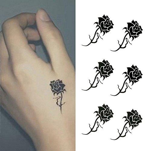 Oottati Small Cute Temporary Tattoo Hand Black Roses (Set of 2)