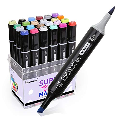 24 Colors Permanent Markers, Brush Pens, Calligraphy Markers, Dual Tips Markers for Artist, Kids, Designing Sketch Illustration Manga Drawing, Painting Art Supplies by Daianyw