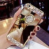 Yobby Specchio Cover per Samsung Galaxy J6 2018,Oro Cover con Glitter Strass Diamanti Anello Cavalletto Kickstand Brillantini Cristallo Sottile Gomma Bumper Protettiva Custodia