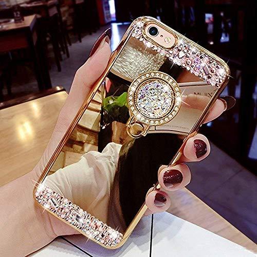 Yobby Spiegel Hülle für Samsung Galaxy J6 2018,Samsung Galaxy J6 2018 Gold Handyhülle mit Süß Ringhalter Ständer Glitzer Diamant Bling Kristall Strass Schlank Weich Gummi Bumper Schutzhülle