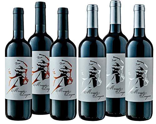 Marqués de Longares -Pack 3 Botellas Vino Tinto Crianza Añada 2015 y 3 Reserva Añada 2014 - D.O. Cariñena - 750ml - Caja 6 botellas