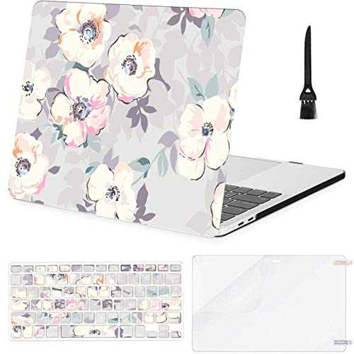 MacBook Pro 15inch Retina(2013-2015) with Retina Display,A1398 Case,Plastic Soft Pastel Like Flower Hard Shell Case with Keyboard Cover & Screen Protector & Cleaning Brush