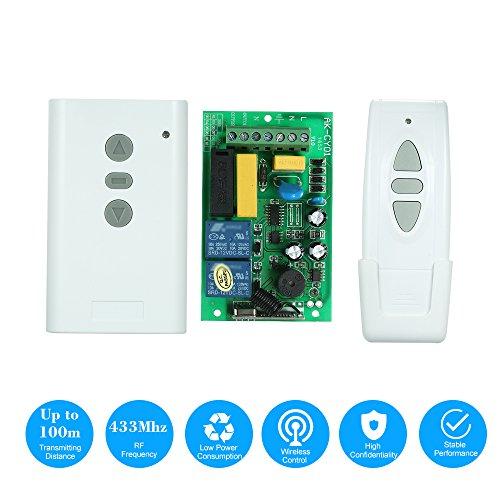 OWSOO AC220V 2CH 433 MHz Intelligente RF draadloze afstandsbediening schakelsysteem en 1 stuk 3 sleutels RF 433 MHz zender afstandsbediening 1527 chip voor projectiescherm Garage Deur elektrisch gordijn