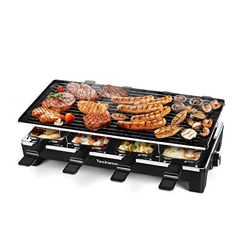 Techwood Raclette Table Grill, Electric Indoor Grill Korean BBQ Grill, Removable 2-in-1 Non-Stick Grill Plate, 1500W Fast Heating with 8 Cheese Melt Pans, Ideal for Parties and Family Fun