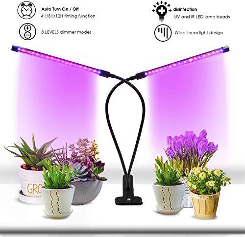 Licht groeien Plantlicht 18W Timing-functie Dual Head 3-standen Timer 4H / 8H / 12H Dimbaar 8 niveaus met 360 graden flexibele zwanenhals LED-plant groeiende lamp, Verbeter de fotosynthese van kamerplanten