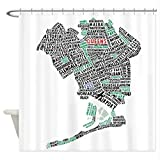 WUXEGHK Duschvorhang,Queens New York Map Typography Shower Curtain Decorative Fabric Shower Curtain 180X150Cm