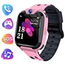 Kids Game Smart Watch Phone, 1.54 HD Touch Screen Smart Watch with Music Player 7 Puzzle Games Camera Recorder Alarm Clock Silent Mode for Kids 3-12 Boys Girls (Pink)