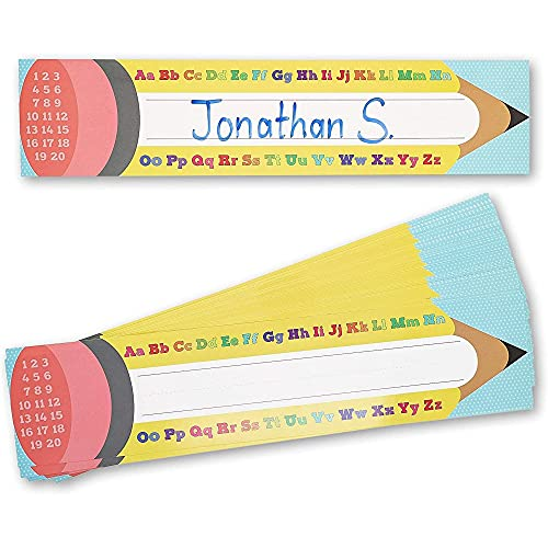 Desk Name Tags for School Classroom, Pencil Design (17.5 x 4 in, 50 Pack)