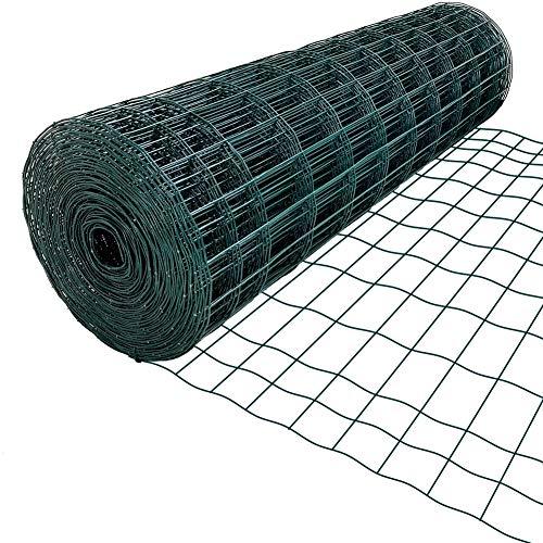 Amagabeli 1,2 m x 25 m grön trådnät stängsel RAL6005 PVC-belagd 100 x 75 mm nätstorlek 2,2 mm tråddiameter galvaniserad trådstängselrulle för trädgård fjäderfä nät kyckling tråd hårdvaruduk HC04