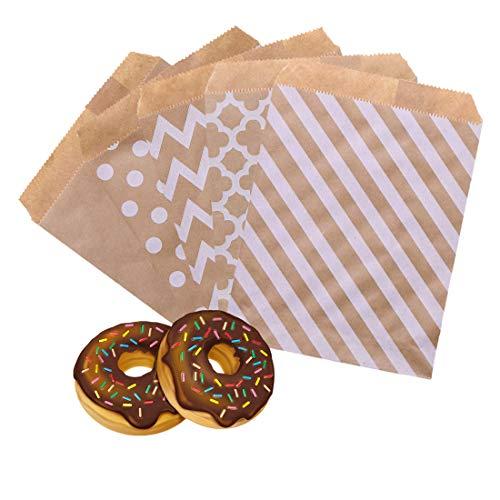 100pz Sacchetti Carta Kraft Bustine Piccoli, Regali Alimenti Dolci Bustine, Sacchetto Regalo Carta/Sacchetto di Carta per Alimenti, Utilizzato per il compleanno della festa di Natale