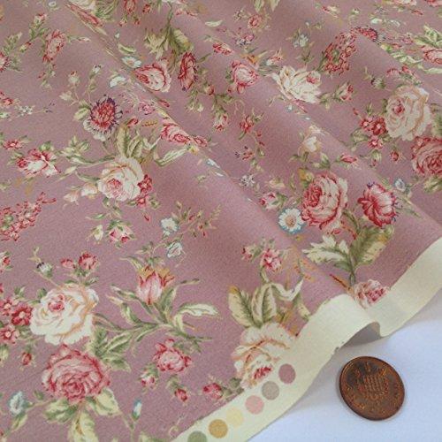 Siempre hacer punto y costura telas, nuevo de flores estilo Vintage 100% algodón (Vintage Floral rosa) por medio metro)