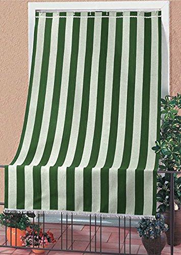 IlGruppone Tenda da Sole Tessuto Resistente per Esterno con Anelli Lavabile Frange Pizzo - Verde - 140x250 cm