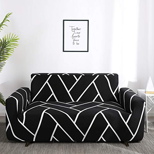 nordmiex Stretch Sofa Slipcovers Fitted Furniture Protector Printed Sofa Cover Stylish Fabric Couch Cover for 4 Cushion Couch(Sofa-4 Seater,Black/White)