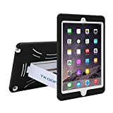 TKOOFN Heavy Duty Silicon Defender Multilayer Protective Shell Military Shockproof Bumper Case Cover with Built in Stand for 2014 iPad Air 2 + Screen Protector + Stylus + Cleaning Cloth, Black/White