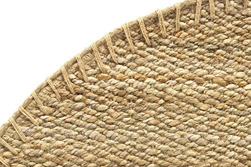 HAMID Jute Teppich - Granada Teppich 100% Natürliche Jutefaser - Weicher Teppich und Hohe Festigkeit - Handgewebt - Wohnzimmer, Esszimmer, Schlafzimmer, Flurteppich - Natürlich (150x150cm) - 4