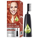 HJL Hair Color Permanent Hair Dye Cream with Comb Applicator Ammonia Free Easy Use Hair Coloring Kit, Bright Auburn, Pack of 1