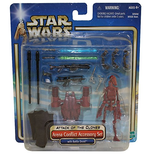 Star Wars Year 2002 Movie Series Episode 2 'Attack of the Clones' Action Figure Accessory Set - Arena Conflict Accessory Set with Battle Droid, Jedi Cloak, Clone Trooper Rifle, Backpack Launcher, 2 Projectiles, Jango Fett Helmet, Jango Fett Blaster, Blue Lightsaber, Green Lightsaber and 3 Handcuffs