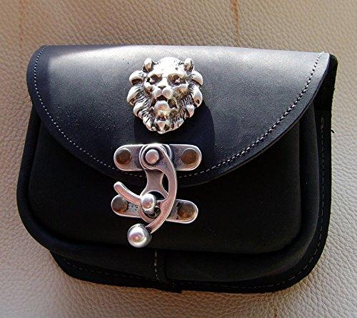Gürteltasche Löwe Leder Farbe schwarz Leon - 2