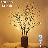 Twinkle Star 150 LED Lighted Brown Willow Branches 32 Inch 3 Pack Artificial Branches Plug in for Indoor Outdoor Christmas Wedding Party Home Decoration (Vase Excluded)