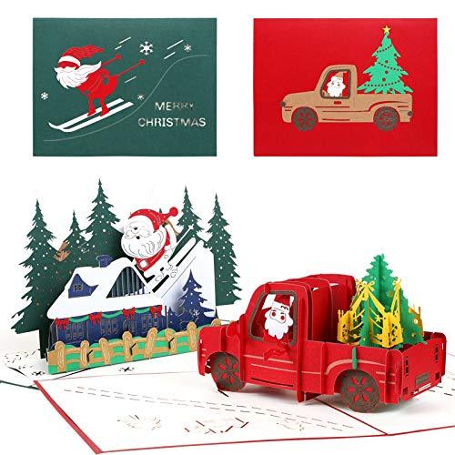Kesote 2 Pezzi di 3D Biglietti di Auguri di Natale Biglietti di Natale con Modello di 3D Macchina e Babbo Natale, Set di 2 Biglietti + 2 Buste + 2 Adesivi