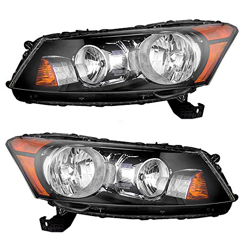 Headlights Headlamps Driver and Passenger Replacement for 08-12 Honda Acoord (4-Door Sedan) 33150TA0A01 33100TA0A01