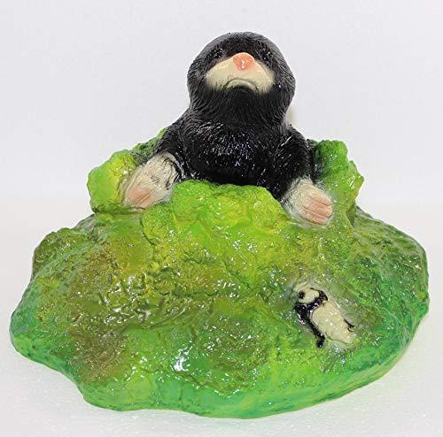 RAKSO Deko Garten Figur Dekofigur Gartenfigur Tierfigur Maulwurf im Loch aus Kunststoff Höhe 19 cm