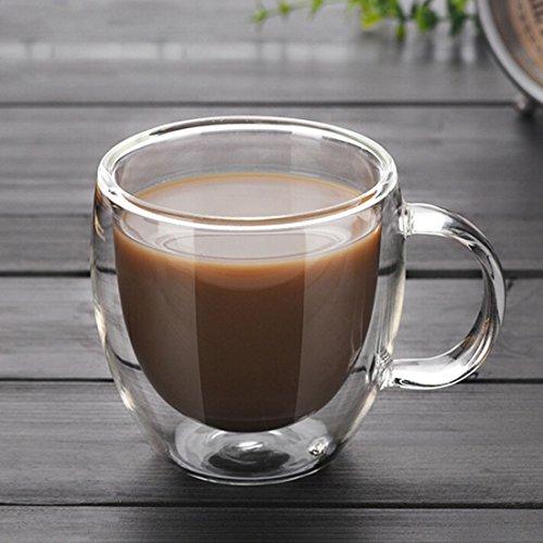 BYHUACN 4 tazas de café de cristal aisladas, diseño de doble pared, taza de té y café con asas, taza de cristal transparente, 150 ml
