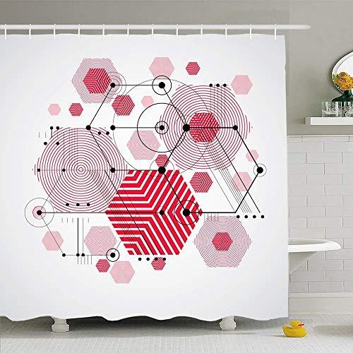 Conjunto de cortina de ducha con ganchos Ingeniería gráfica Patrón de Bauhaus Abstracción Tecnológica como texturas modulares Cartel de estilo Tela de poliéster impermeable Decoración de baño para bañ