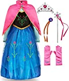 FUNNA Princess Costume for Toddler Girls Fancy Dress Party with Accessories Blue, 5T