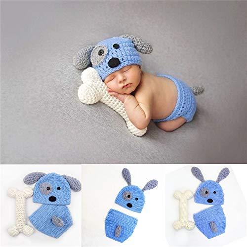 YaGFeng Baby Photo Costume Ropa de bebé Foto Tejida Mano del Perrito de Modelado Fotografía Ropa for Estudio (Color : Blue, Size : One Size)