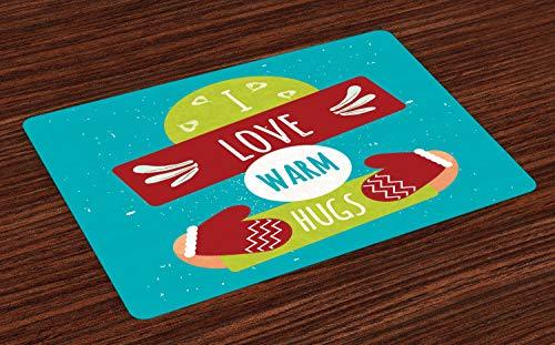 ABAKUHAUS Knuffel Placemat Set van 4, Ik houd van Warm Hugs handschoenen, Wasbare Stoffen Placemat voor Eettafel, Sea Blue Multicolor