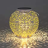 Gadgy luces solares led exterior jardin | faroles de decoracion con efecto de sombra | linterna solar redonda blanca | Colgante impermeable o decoración de mesa