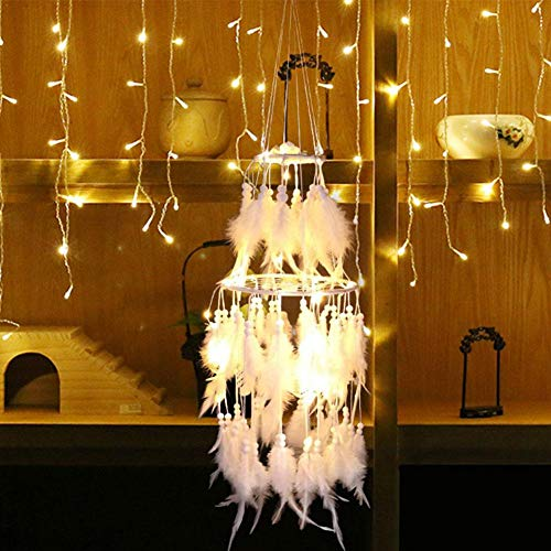 POP-STYLE Veilleuse LED pour Enfant, Lampe De Nuit Dream Catcher Vent Carillon Léger Pendentif Jolie Enfant Chambre Décoration Cadeau pour Enfant
