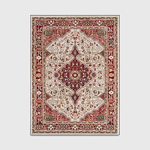Teppiche Für Wohnzimmer Schlafzimmer Teppich Traditionelle Ethnische Stil Retro Rote Eingangsmatte Schlafzimmer Wohnzimmer Rutschfeste Nachtteppich Bodenmatte (160X230cm)