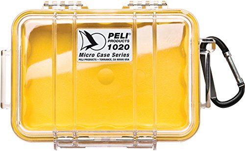 PELI 1020 micro boîtier de protection étanche pour petits appareils sensibles, indice IP67, capacité de 0,5L, fabriqué aux États-Unis, revêtement clair/jaune