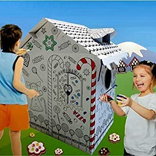 Rexco HW218738 New Large Colour Your Own Gingerbread House Childrens Playhouse Kids Cardboard Wendy Tent Art, Multi