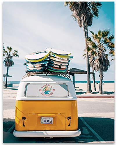 VW California Dreamin Surf Van - 11x14 Unframed Print - Great Gift and Decor for Beach House, Surfers and Volkswagen Enthusiasts Under $15