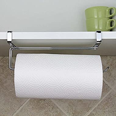 Paper Towel Hanger Holder, Stainless Steel Kitchen Roll Paper Towel Holder Tissue Hanger Organizer Rack for Kitchen Under Cabinet Over Door (Paper towel holder-A)