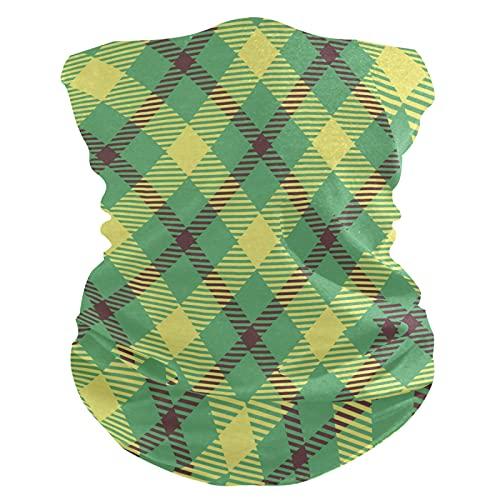 Tela Escocesa De Búfalo A Cuadros Verde Beige PañueloPolaina Facial Mascara Bandana Cintas de...
