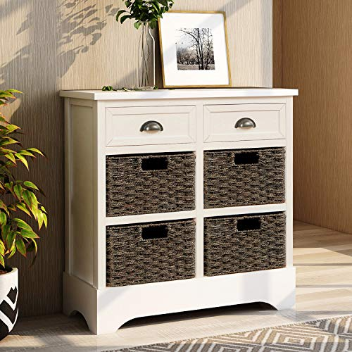 P PURLOVE Storage Chest Retro Style Storage Cabinet Storage Unit with 2 Wood Drawers and 4 Wicker Baskets for Home Kitchen Entryway Living Room Antique White