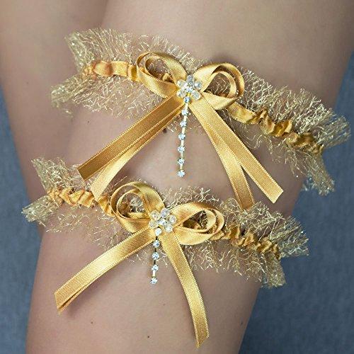 Strumpfband x2 gold golden Hochzeit Braut Brautkleid Unterwaesche